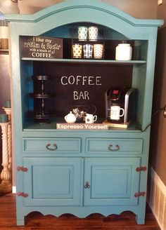 Best Organization for Small Space – Choosing the Perfect Custom Closet – Style Of Coffee Bar In Kitchen Armoire Makeover, Furniture Makeover, Diy Furniture, Coffee Bar Station, Home Coffee Stations, Coffee Bars In Kitchen, Coffee Bar Home, Repurposed Furniture, Painted Furniture