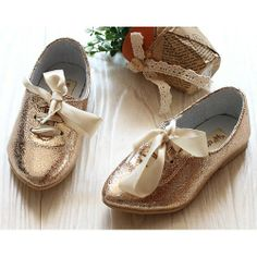 Gold Patent Leather Lace Up Flower Pageant Party Girl Girls Dress Shoes SKU-133342