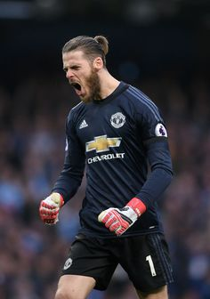 David De Gea of Manchester United celebrates after his sides third goal during the Premier League match between Manchester City and Manchester United at Etihad Stadium on April 2018 in Manchester, England. Manchester City, Manchester United Premier League, Manchester United Wallpaper, Manchester United Legends, Manchester England, Manchester United Football, Brandon Williams, Premier League Matches, Man United