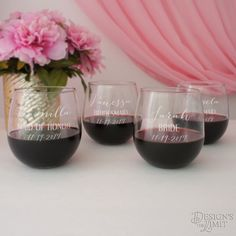 Bridesmaid Monogrammed Stemless Wine Glasses Individually Personalized with Design Option Element & Font of Your Choice from our Selection by DesignstheLimit #TrendingEtsy