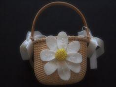 Flower Girl Basket Wedding Ivory Yellow Daisy Flower custom color #wedding by ArtisanFeltStudio, $26.00