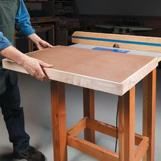 Maximize the working area in your shop by adding an additional worksurface to your router table top. Diy Workbench, Router Woodworking, Table Saw, Work Surface, Benches, Craftsman, Bar Stools, Workshop, Projects