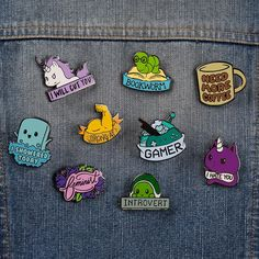 Don't say I didn't warn you. Get the Stabby the Unicorn Pin only at TeeTurtle! Funny Patches, Cool Patches, Pin And Patches, Band Patches, Croc Charms, Jacket Pins, Cool Pins, Pin Collection, Nerdy