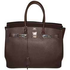 Pre-owned Birkin 35 (341,510 THB) ❤ liked on Polyvore featuring bags, handbags, brown, genuine leather purse, genuine leather handbags, leather handbag purse, brown leather handbags and brown handbags