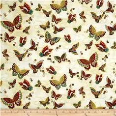 Timeless Treasures Metallic Zen Oasis Butterflies Cream