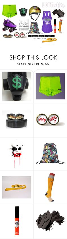 "Roller derby outfit idea | Fri-yay Fashion: ""The Jokester"" by Bout Betties on Polyvore featuring Cut the Track, S1 Helmet Co, Hellcat Clothing, xxxMyPlayGroundxxx, Sure Grip, G2Oh, The Sock Drawer, Etsy, TheBalm, EMPUKCREW, and Ill Grills, Bobbi Brown Cosmetics"