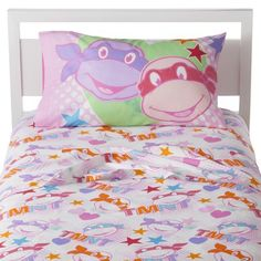 """Teenage Mutant Ninja Turtles Girl Sheet Set - Twin (Pink) - I'm not big on buying carton bedding because it's expensive and they """"don't like that cartoon"""" in a few months.  BUT, if these were available I would pick them up in a heart beat for my little tom boy!"""