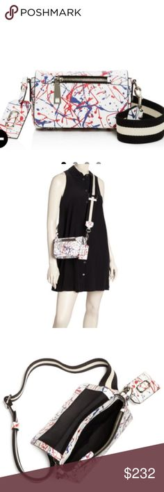 "NWT Marc Jacobs splatter print crossbody New leather splatter print crossbody by Marc Jacobs in white multi.  Colorful paint splatter print.  A removable 20"" drop canvas strap.  Detachable Crossbody strap.  zip closure.  lined.  exterior zip pocket , exterior slip pocket,  interior zippered pocket.  8.25 x 3 x 5 Marc Jacobs Bags Crossbody Bags"