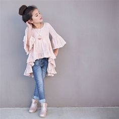 Joyfolie - Amelia Peasant Boho Top in Blush