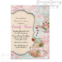 Etsy choice 3   Shabby Spring Summer Bridal Shower / Baby Shower Tea Party - Printable Invitation No57-3. $18.00, via Etsy.