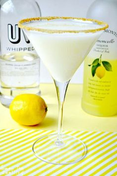 Lemon Meringue Martini - Limoncello and whipped cream-flavored vodka join forces (link doesn't go anywhere, going to have to test pour) guessing whipped vodka, lemoncello & half n half with lemon sugar rimmed glass Party Drinks, Cocktail Drinks, Cocktail Recipes, Alcoholic Drinks, Drink Recipes, Uv Vodka Recipes, Martini Party, Dessert Recipes, Cocktail