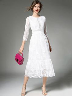 Buy Women's Lace Dress Solid Color Hollow Out Sweet Dress & Women's Dresses - at Jollychic Modest White Dress, Lace Midi Dress, Modest Dresses, Women's Dresses, Classy Outfits, Pretty Outfits, Beautiful Outfits, Necklines For Dresses, Dresses With Sleeves
