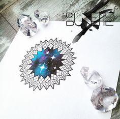Geometric mandala galaxy tattoo