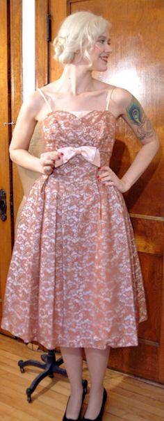 1950s Dress // Rose Lace Satin // Vintage Party by dethrosevintage, $148.00