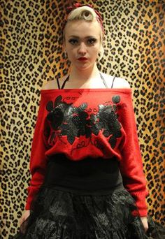 e69a4dbd2c Motel Vintage red black punk grunge roses floral jumper from Pretty  Disturbia