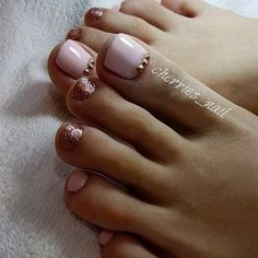 Elegant Blush Pink Toe Nail Design with Glitter for Prom or Wedding