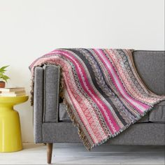 Aztec Tribel Throw blanket Boho Beach Blanket Pink by PushkaStudio