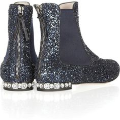 Miu Miu Glitter-finished leather Chelsea boots ($750) ❤ liked on Polyvore