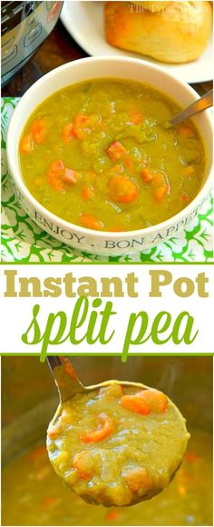 This Instant Pot split pea soup recipe with ham is easy to make, and my kids love it too! Throw it in your pressure cooker for 17 minutes and it's perfect. via @thetypicalmom