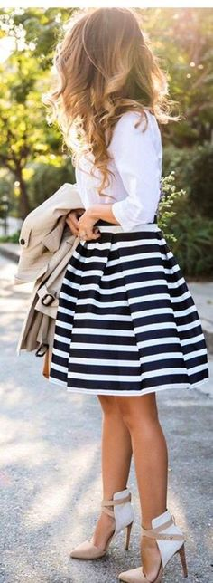 summer outfits White Shirt + Striped Skirt