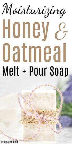 This easy soap recipe is fun to make as a handmade gift idea! Moisturizing melt and pour soap recipe for oatmeal honey soap. Save this homemade soap recipe for beginners now so you don't lose track of it! There's even a video to show you the entire p Handmade Soap Recipes, Soap Making Recipes, Handmade Soaps, Handmade Soap Packaging, Packaging Ideas, Diy Savon, Soap Melt And Pour, Oatmeal Soap, Oatmeal Shampoo