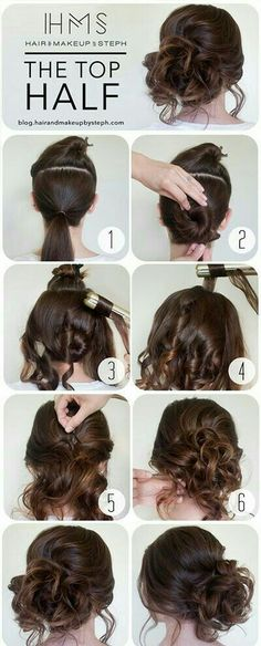 Easy curly hair updo tutorial.