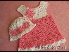 Crochet dress  How to crochet an easy shell stitch baby / girl's dress for beginners 35 - YouTube