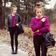 Wioletta M. - Purple Sweater & Messy Bun
