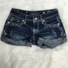 Miss Me Cuffed Sequin Stretch Shorts These super cute bedazzled shorts are a perfect statement especially for those summer nights that are right around the corner! They have a distressed look with gems to really set them off! Lightly worn and look just about brand new! Miss Me Shorts Jean Shorts