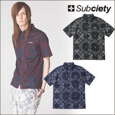 SUBCIETY サブサエティ Subciety PAISLEY SHIRT S/S-Conductor- ペイズリー半袖シャツ 柄シャツ 半袖シャツ ワークシャツ
