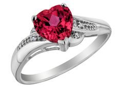 Created Pink Sapphire Heart Promise Ring with Diamonds Carat (ctw) in White Gold, Size 7 Heart Shaped Diamond Ring, Gold Heart Ring, Heart Shaped Rings, Diamond Promise Rings, Ruby Rings, Promise Rings For Girlfriend, Heart Promise Rings, Promise Rings For Couples, Heart Rings