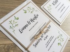 Rustic Leaves Wedding Invitation. Nature by FromLeoniWithLove