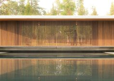 This meditation pavilion is surrounded by vertical ash wood slats                                                                                                                                                                                 More