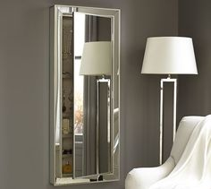 Park Mirrored Jewelry Closet   Pottery Barn - great idea to use as mirror above a desk as a vanity.