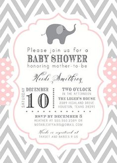 PRINTABLE Gray and Light Pink Elephant Chevron and Polka Dots Baby Shower Birthday or Gender Reveal Invitation - colors can be changed. $15.00, via Etsy.