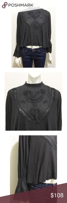 "NWT Free People Small Anthracite Peasant Top Brand new with tags Anthracite peasant top by Free People. Size small. Color is a mix of black and gray I'm calling charcoal. High neckline, Victorian-esque, bell sleeves, partially open back and slight crop. Has a natural distressed look and manufacturer pilling. 80% viscose/20% linen. Length is approximately 22"", bust is open as the back doesn't button fully. Free People Tops Blouses"