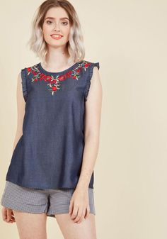 AdoreWe - ModCloth Effortlessly Embroidered Sleeveless Top in XXS - AdoreWe.com