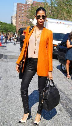 Orange jacket.