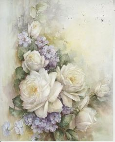 Discover thousands of images about White Roses Violets 44 by Sonie Ames China Painting Study 1971 China Painting, Tole Painting, Art Floral, Vintage Prints, Vintage Art, Flower Prints, Flower Art, Roses And Violets, Vintage Rosen