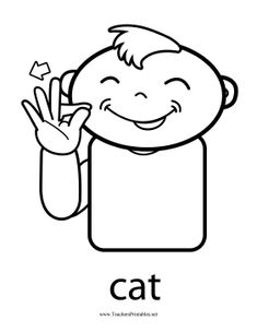 This printable baby sign language poster features a happy