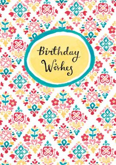 Louise Anglicas - LAS_ Hand Painted Floral Motif Tile Pattern 2 Birthday Wishes