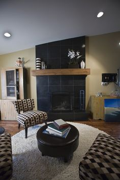 Adoni Black Slate tiled fireplace.