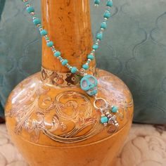 Turquoise Skull Aqua & Silver Beaded Ankle by TheVelvetMannequin