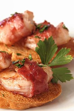 Bacon-Wrapped Shrimp and Crackers. For the recipe: http://www.bergencounty.com/food-and-dining/how-to-buy-meat-and-seafood-1.1081314