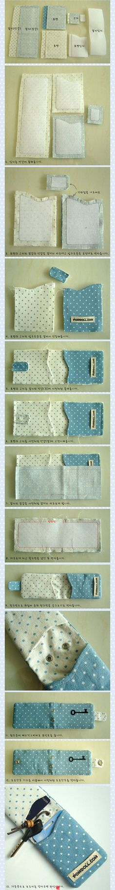 Two slot card and key holder | free picture tutorial, diy, free pattern, Korean text