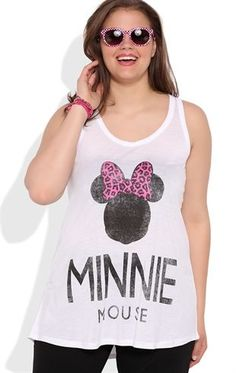 Deb Shops plus size rayon double scoop tank with Minnie screen