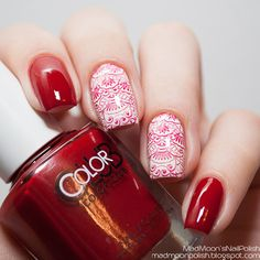 http://www.miascollection.com . Mad Moon Nail Polish : Color Club Red De Rio и Look, Don't Tusk   Стемпинг с диском BP-17 ☺  ☺ ✿  ☻