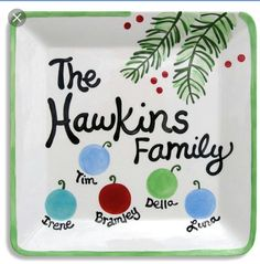 Celebrate your favorite family with personalized plate! I design, hand paint, glaze and kiln fire each and every piece to ensure a beautiful long lasting keepsake. Each plate is lovingly personalized (Diy Christmas Canvas) Christmas Activities, Christmas Crafts For Kids, Christmas Projects, Family Christmas, All Things Christmas, Winter Christmas, Holiday Crafts, Holiday Fun, Christmas Decorations