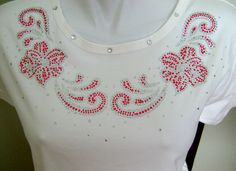 TRIM / PINK FLOWERS DESIGN NECKLINE RHINESTONE IRON ON APPLIQUE / TRANSFER in Appliques | eBay