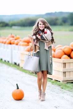 Pretty Fall Outfit - sage t-shirt dress, plaid scarf, booties, and tote bag - ASOS T-Shirt Dress, Nordstrom Hinge 'Jacquard Stripe Scarf'in Tan combo, Sole Society Lyriq heeled ankle bootie in Coffee